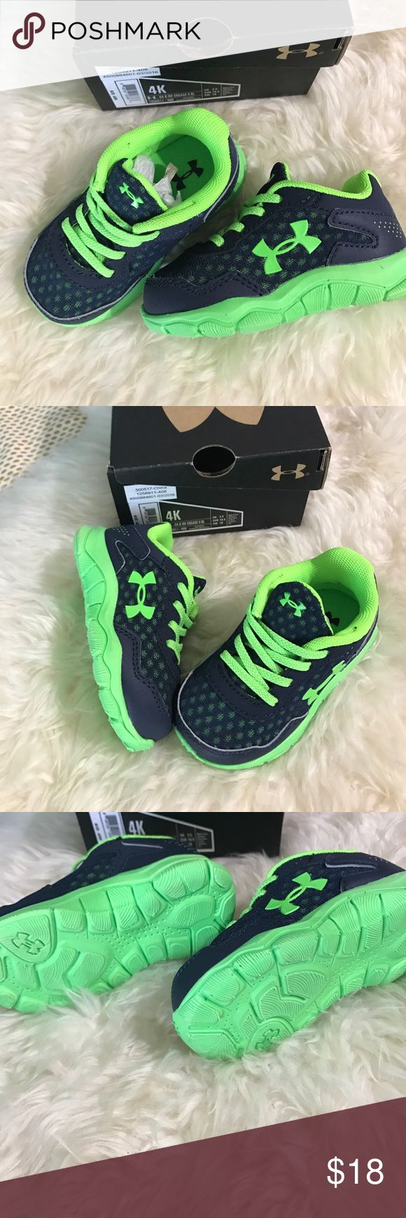 listing! Baby {Under Armour} tennis shoes! My chunky monkey footed boy only wore these once before they were too small! In excellent excellent condition!  The laces are actually elastic so they stretch to put on- navy and lime green and so so cute!! Price is firm unless bundles on this one! Under Armour Shoes Baby & Walker