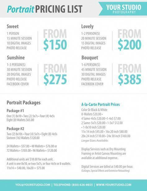Photography Package Pricing - Photographer Price List - Marketing - Price Sheet Template