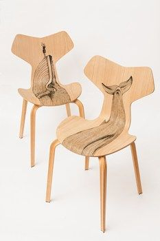 Wood as tattoo decorated skinFor the relaunch of Arne Jacobsen's iconic Grand Prix Chair, Diego Grandi asked the tattooist Pietro Sedda to ink up 9 chairs - 2014 Sept