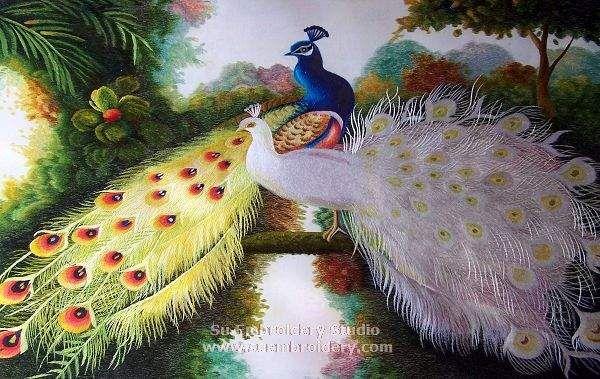 Peacocks, silk hand embroidered painting, handmade silk thread art, Su Embroidery Studio, Suzhou China