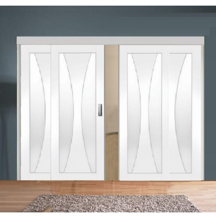 Sliding Room Divider with White Verona Glazed Doors