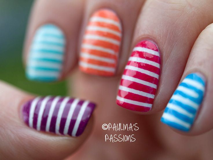 Best 25 striped nails ideas on pinterest striped nail art striped nails colorful skittle prinsesfo Images