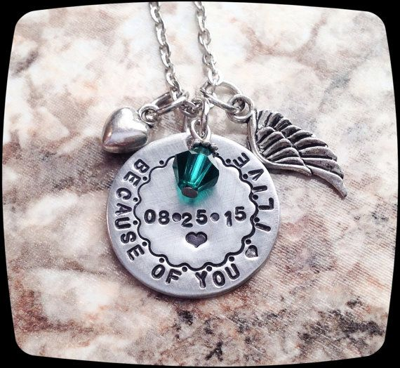 Organ Donor Gift Cancer awareness necklace Kidney by ThatKindaGirl