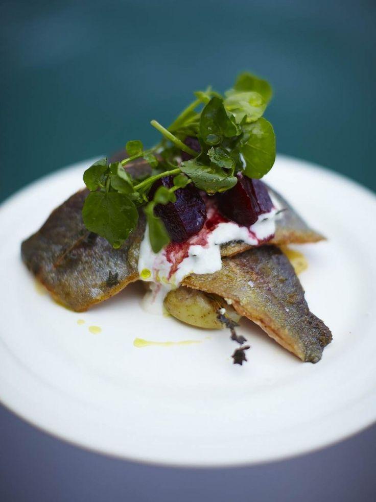 Rainbow trout with horseradish yoghurt & balsamic beets