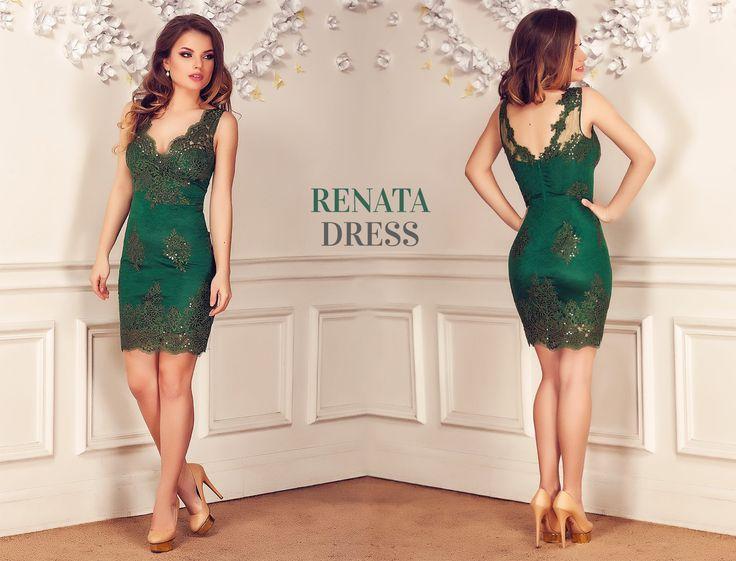 Lace evening dress with sequins embroidery in gorgeous emerald shades: https://missgrey.org/en/dresses/short-lace-evening-dress-with-sequins-embroidery-in-emerald-shades-renata/461?utm_campaign=decembrie&utm_medium=rochie_renata_verde&utm_source=pinterest_produs
