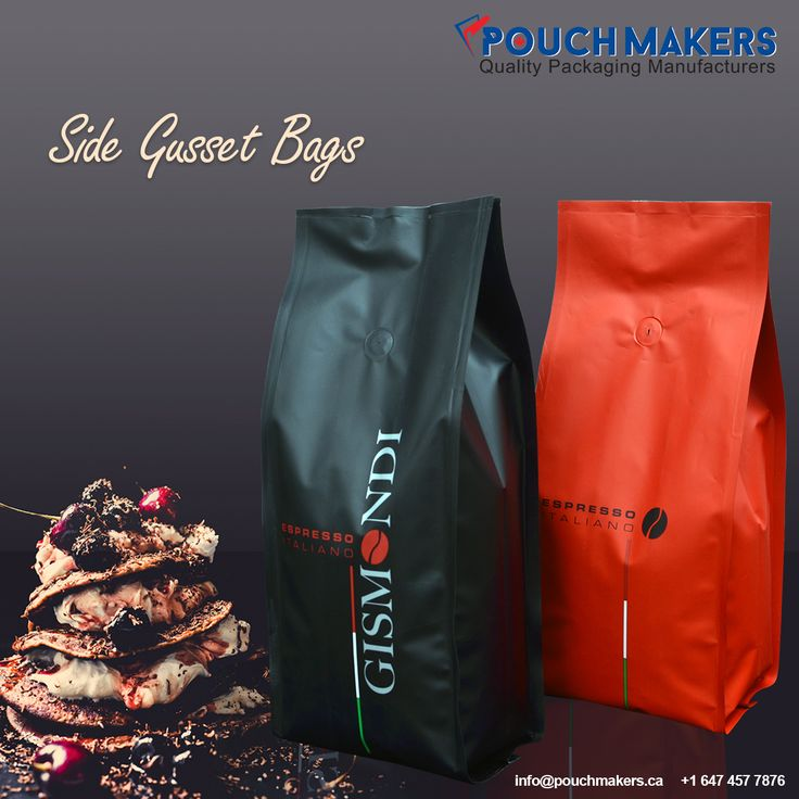 Pouch Makers Canada manufacture #SideGussetBags which are highly recommended for packaging coffee, tea, pet food, frozen food, protein powder, etc…