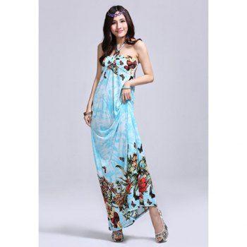 Greek Style Halter Neck Plants Print Sleeveless Saggy Design Women's Maxi Dress, SKY BLUE, M in Maxi Dresses | DressLily.com