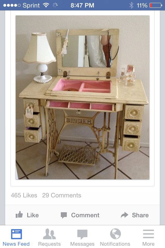 Sewing table vanity