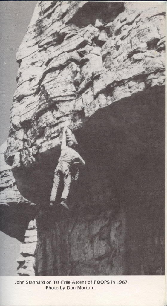 John Stannard on the 1st free ascent of FOOPS, 5.11 at Sky Top, (1967).  An iconic Gunks route.