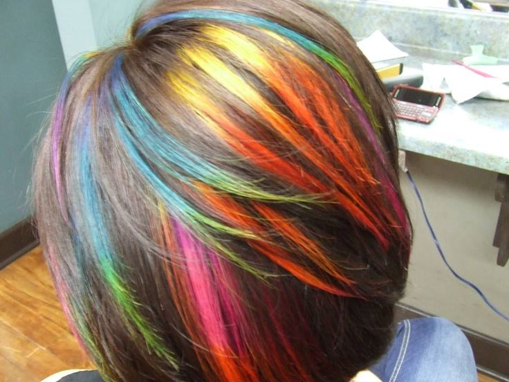 Rainbow hair by Kate Oliver @ Fayetteville College of Cosmetology Arts and Sciences, Fayetteville TN.  Inspired and  done on the amazing Sarah Rochelle.   Thanks for making me go out side the box.
