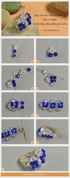 Easy Jewelry Making Ideas on How to Make Fresh Glass Bead Ring for Girls from LC.Pandahall.com                                                                                                                                                                                 More