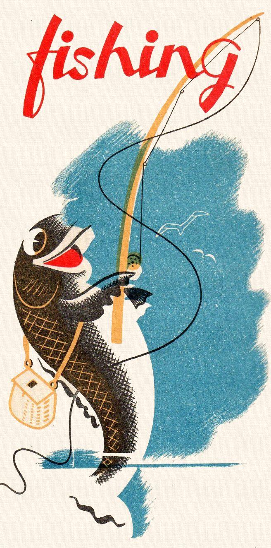 Vintage Fishing Poster Lake Art Pinterest Count