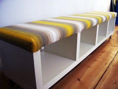 Window seat made from IKEA Lack shelving turned on its side