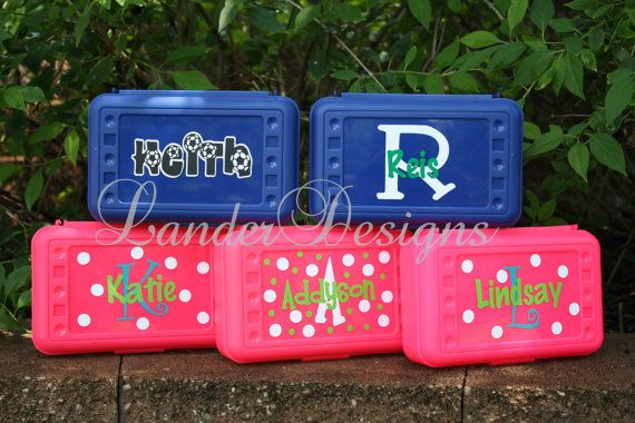 Back to School Personalized Pencil Boxes/ Art by LanderDesigns, $6.50