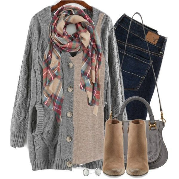 Gray cable knit, wedge boots & plaid scarf