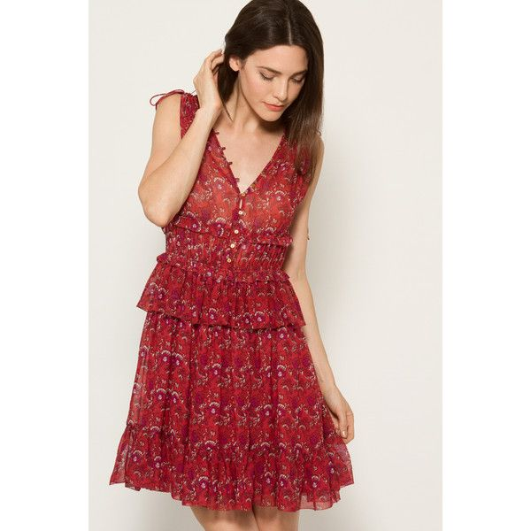 Ulla Johnson Noelle Dress (1,855 SAR) ❤ liked on Polyvore featuring dresses, all colors, red silk dress, ruched dress, short dresses, red dress and metallic mini dress
