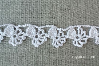 """MyPicot HOME WORK Free Pattern h016.pdf (Downloaded - SLT) Crochet patterns from """"HOME WORK"""", ROSE PUBLISHING CO. (LTD.), 1881 """"Narrow Danby Lace No. 18"""""""
