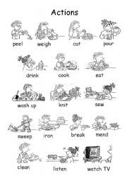 English teaching worksheets: Actions