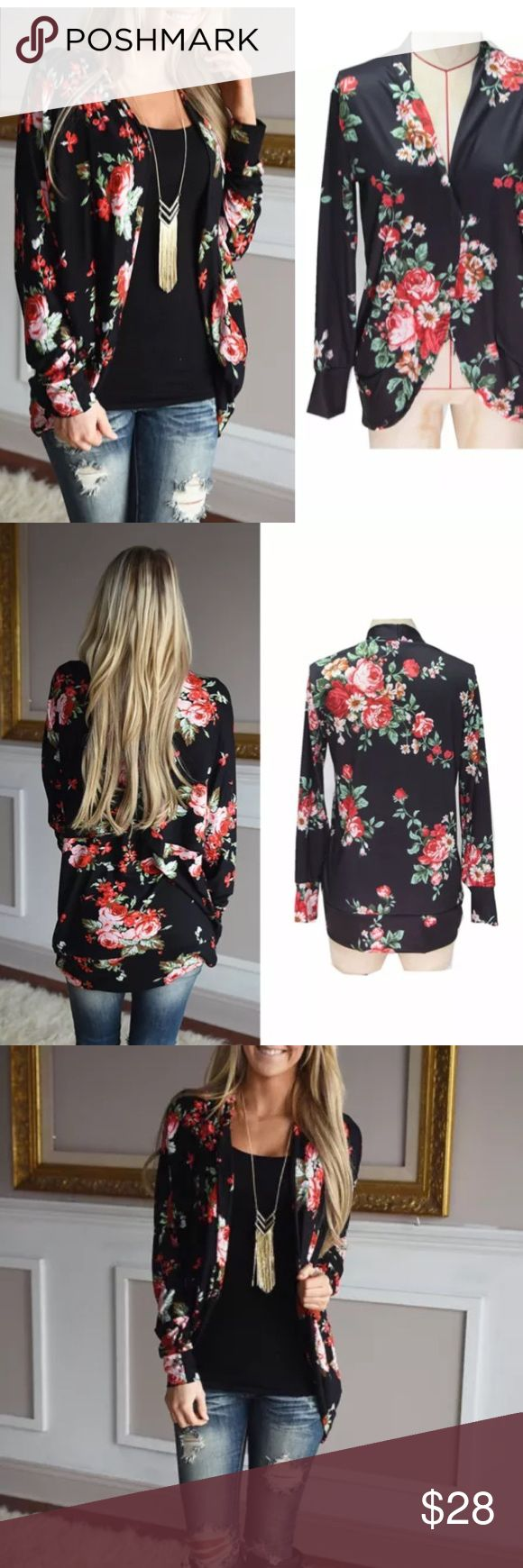 Floral blazer cardigan Complete the look with this floral blazer cardigan. Long sleeves 100% cotton blend. Sweaters Cardigans