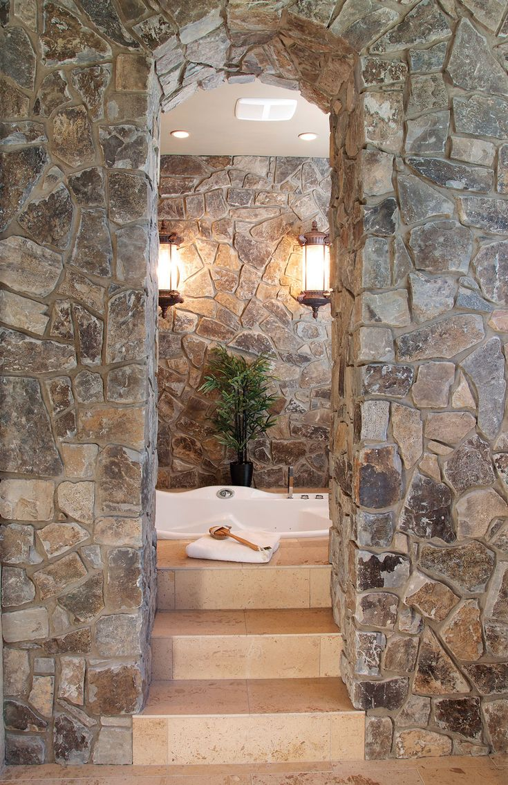 63 Sensational Bathrooms With Natural Stone Walls - Moose mountain cottage thin veneer stone bathroom design modern contemporary