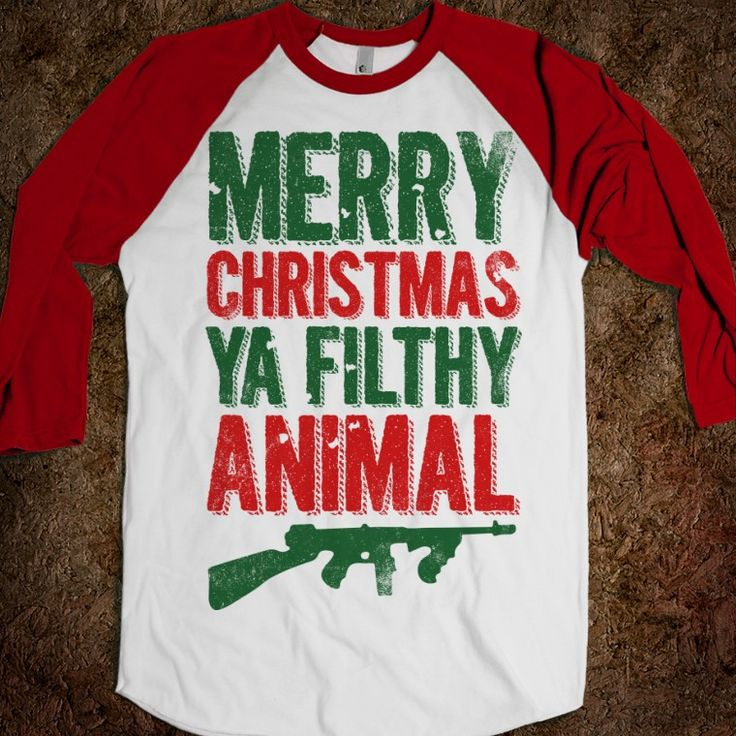 Merry Christmas Ya Filthy Animal (Baseball) - Fun Movie Shirts - Skreened T-shirts, Organic Shirts, Hoodies, Kids Tees, Baby One-Pieces and Tote Bags Custom T-Shirts, Organic Shirts, Hoodies, Novelty Gifts, Kids Apparel, Baby One-Pieces | Skreened - Ethical Custom Apparel