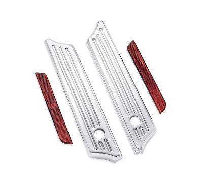 Billet Saddlebag Hinge Cover Kit - Chrome Grooved - 90201084
