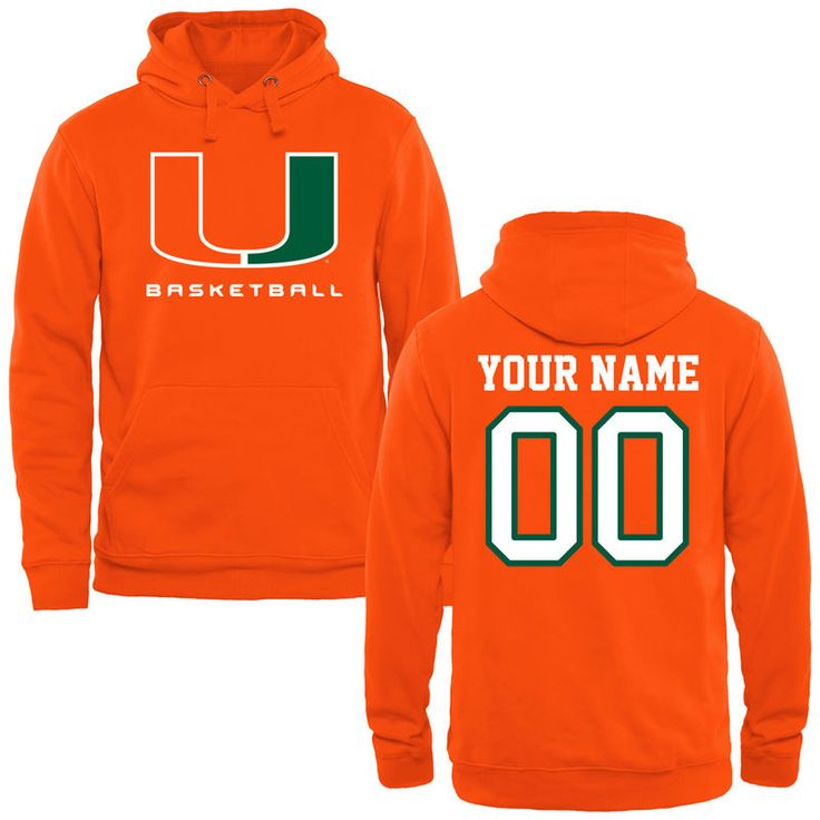Miami Hurricanes Fanatics Branded Personalized Basketball Name & Number Pullover Hoodie - Orange