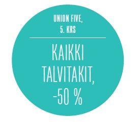 Kaikki talvitakit, -50 %. UNION FIVE, 5. KRS