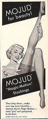 Mojud Stockings Seam and Foot Nylon Ladies Stockings Mojud Leggy 1954 Print AD