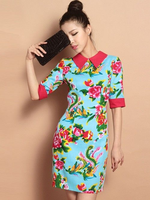 Blue Custom Tailored Short Floral Qipao / Cheongsam Dress