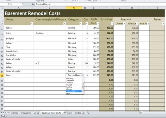 Basement Remodel Costs Calculator Excel Template, Renovation Cost vs
