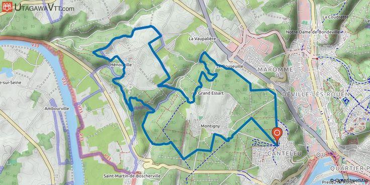 """[Seine-Maritime] Forêt de Roumare : Circuit 2 (bleu) - L'Ouraille à Hénouville Ceci est une trace faite à partir de l'ancienne carte """"Parcours VTT Evasion O.N.F."""" de la forêt de Roumare.  Les chemins sont encore balisés par couleur et numéro, suivez les balises bleues avec le N° 2.  Les balises n'ont plus l'air d'être entretenues depuis plusieurs années."""