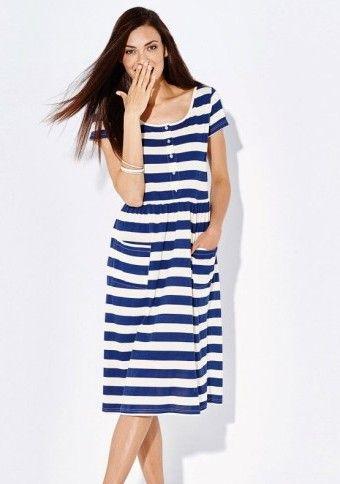 Pruhované šaty s knoflíčkovou légou #ModinoCZ #dress #šaty #navy