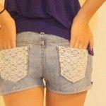 Como customizar short jeans com renda nos bolsos
