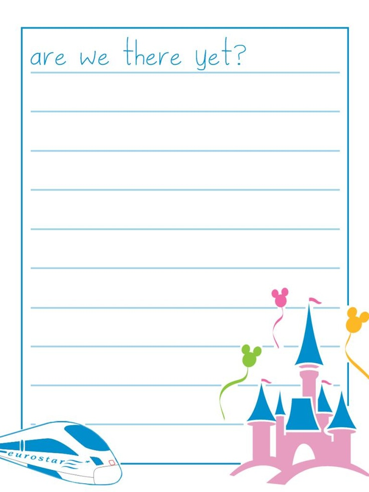 """Are we there yet? - Eurostar - Disneyland Paris - Project Life Disney Journal Card - Scrapbooking.  ~~~~~~~~~ Size: 3x4"""" @ 300 dpi. This card is **Personal use only - NOT for sale/resale** Logos/clipart belong to Disney & Eurostar. Train is from http://www.wpclipart.com/. Font is Sweetie Pie www.dafont.com/sweetie-pie.font"""