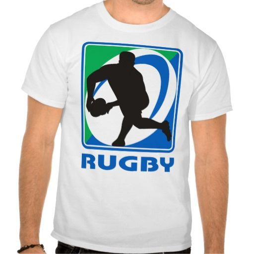 """Rugby player passing ball front t shirts. illustration of a Rugby player passing ball facing front in silhouette with ball in background with words """"rugby"""". #illustration #Rugbyplayerpassingballfront #rwc #rwc2015 #rugbyworldcup"""
