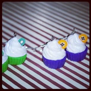 Cupcake earrings in fimo from Tinawestergaard.dk