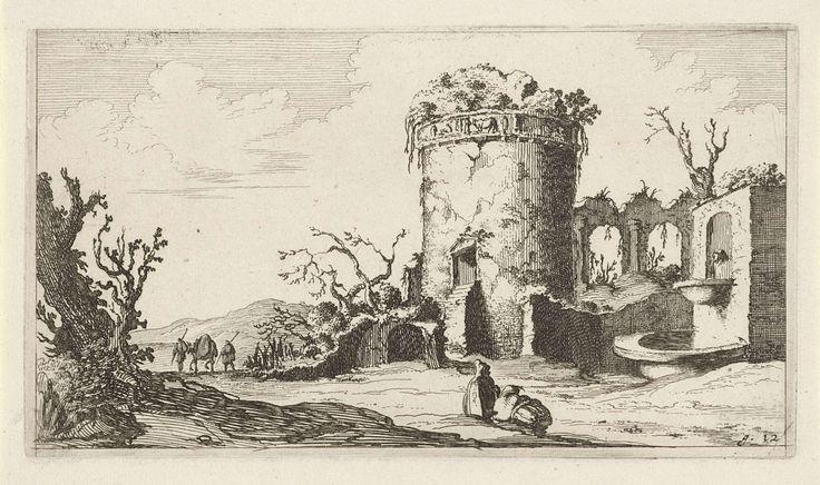 Gillis van Scheyndel (I) | Fontein bij ruïne met een ronde toren, Gillis van Scheyndel (I), Frederik de Wit, 1640 - 1706 | In een landschap ligt een ruïne met een ronde toren en een fontein. Langs de ruïne trekken twee reizigers met een paard. Op de voorgrond zitten enige figuren naar de ruïne te kijken. De prent maakt deel uit van een serie van twaalf landschappen.