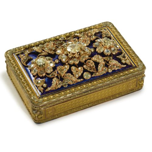 A German vari-color gold, enamel and diamond large snuff box, Charles Colins & Sons, Hanau, <P>circa 1830-40</P> | Lot | Sotheby's