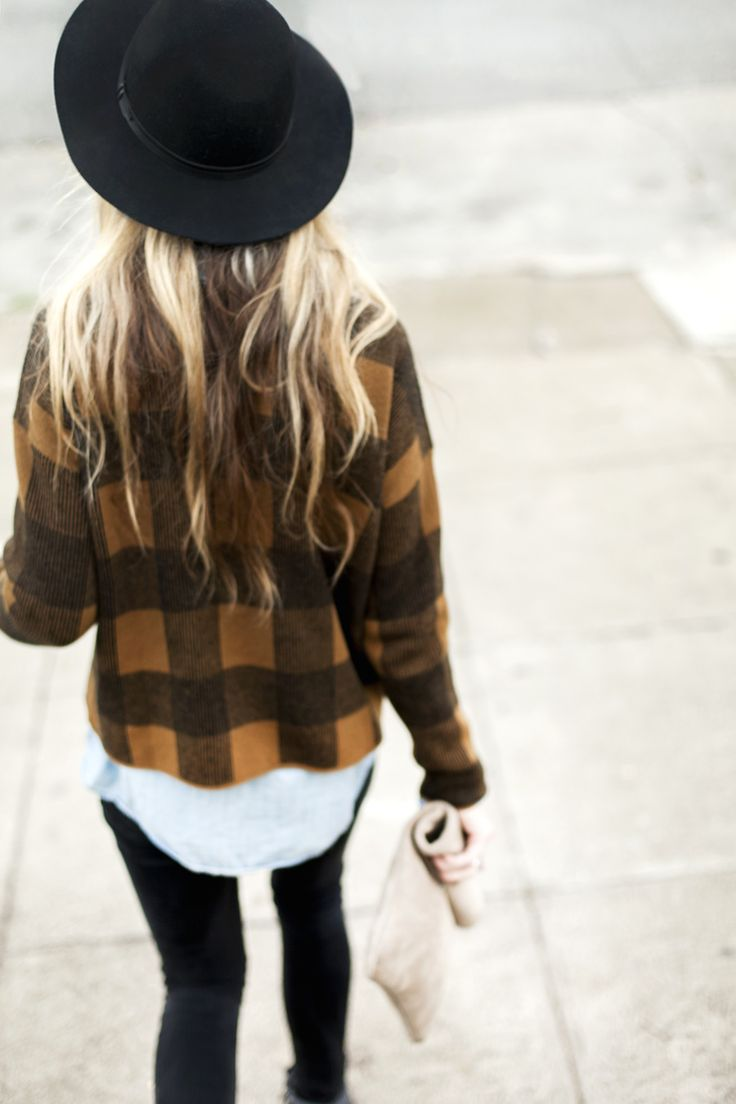 great outfit inspiration - plaid jacket, oversized felt hat, and skinny black pants
