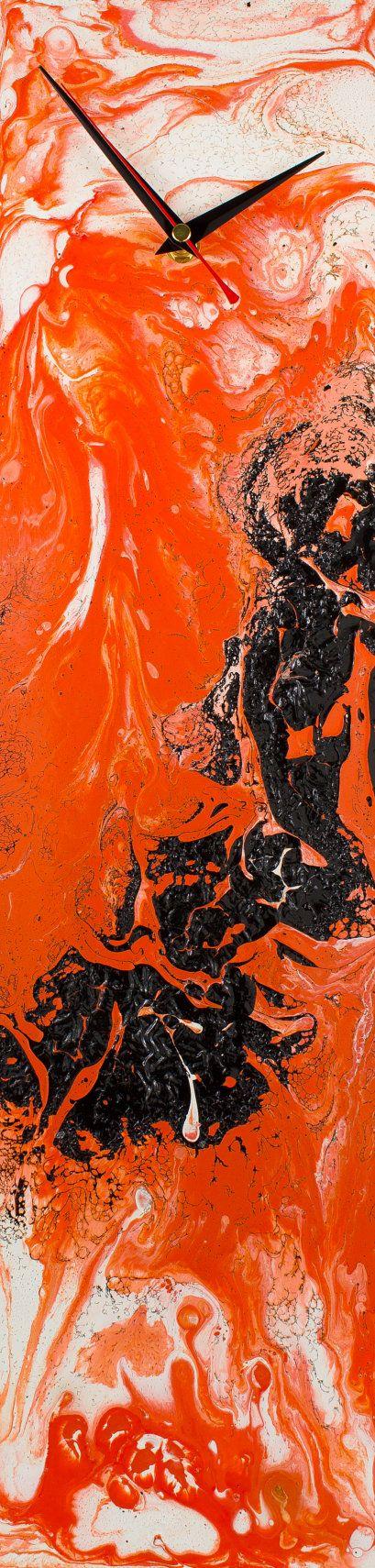 Orange Wall Clock, Minimal Clocks, Glass wall clock, Minimal wall art, Glass wall art, Handmade, by Craig Anthony, Reformations, on Etsy  (Please