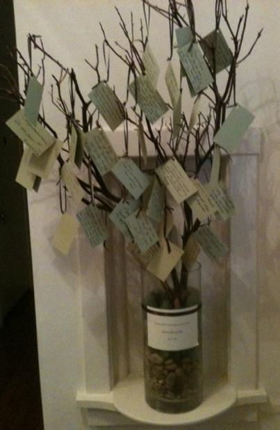 A memory tree is a place to capture special memories of your loved one. Family and friends take a card and write their memory on the card and then tie the card onto the tree branch. After the service, the tree can be put in a special place where you can go to it and read all the memories shared or you can take off the cards and put them in a special box where you can go back and read them from time to time.