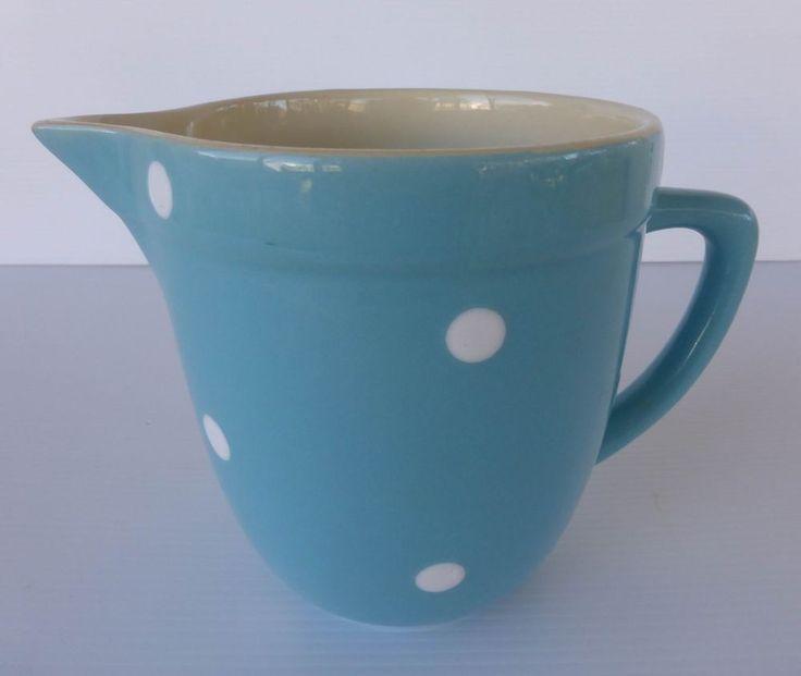 Vintage  Diana Australian Pottery Blue Polka Jug c1960 s..