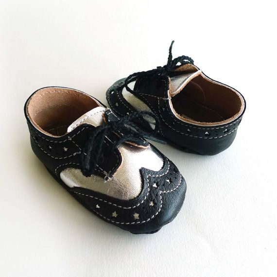 Baby Boy Shoes Black and Silver Leather Crib Dress shoes by ajalor