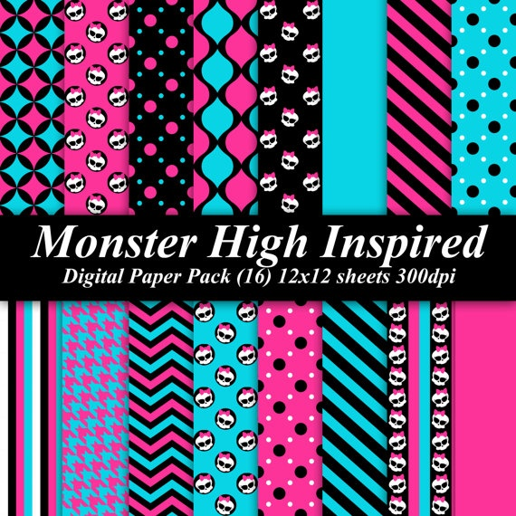 BUY 2 GET 1 FREE - Monster High Inspired Digital Paper Pack (16) 12x12 sheets 300 dpi scrapbooking invitations birthday. $4.00, via Etsy.