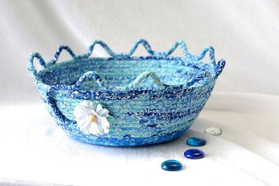 Decorative Blue Basket, Soft Fiber Pottery Basket, Handmade Batik Bowl, Key Holder, Modern Rope Fabric Basket, Yarn Basket   #wexfordtreasures #cute #desk #accessory #bowl #basket #gift #handmade #etsyshop #home #decor  #decorative  #clothesline  #artisan #coiled #quilted #textile #art #fiber #fabric #rope