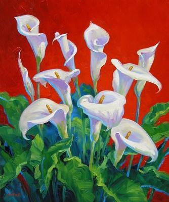 Mikki Senkarik Original Oil Painting White Calla Lilies Flowers Christmas Gift
