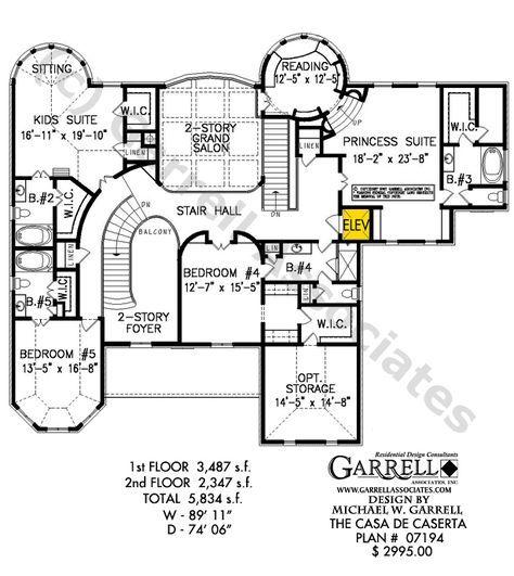 Casa De Caserta House Plan 07194, 2nd Floor Plan, Master Down House Plans, Mediterranean Style House Plans