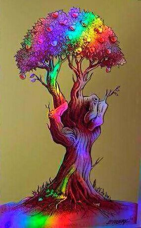 ☮ American Hippie Art ☮ Peace Sign Tree of Life Rainbow