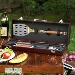 Picnic at Ascot Chef's 3PC BBQ Set in Wood Case: Tools Sets, Woods Cases, Bbq Sets, Sets Woods, Barbecue Sets, Steel Barbecue, Bbq Tools, Aluminum Cases, 3Pc Bbq